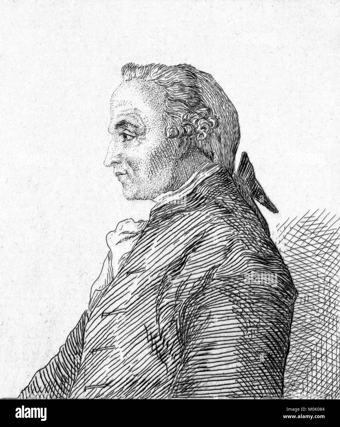 Immanuel Kant (1724-1804). Etching of the German philosopher by Félix Bracquemond, 1852. - Stock Image