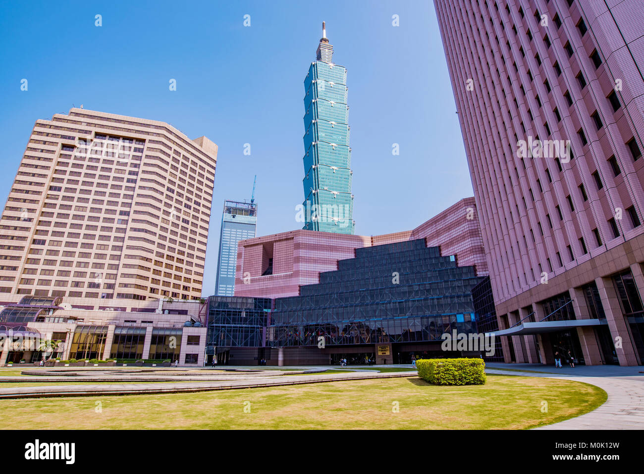 TAIPEI, TAIWAN - MARCH 28: This is a view of the World Trade Center building and Taipei 101 in the Xinyi financial - Stock Image