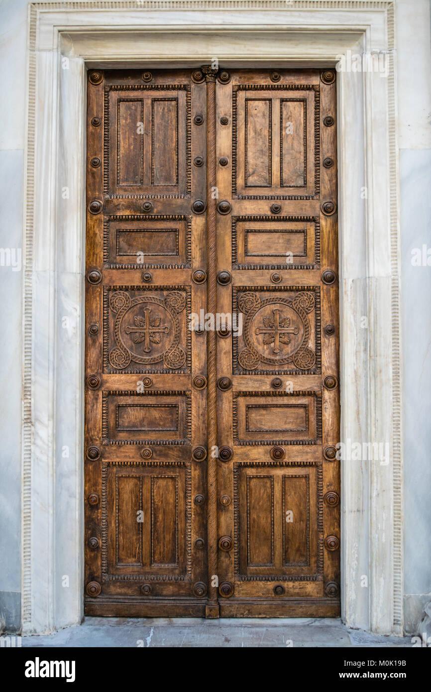 Side Entrance Doors of the Metropolitan Cathedral of Athens Greece & Side Entrance Doors of the Metropolitan Cathedral of Athens Greece ...