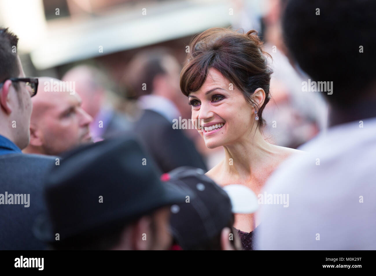 London, UK, 21st May 2015, Carla Gugino, World Premiere of 'San Andreas' at the Odeon Leicester Square Cinema. - Stock Image