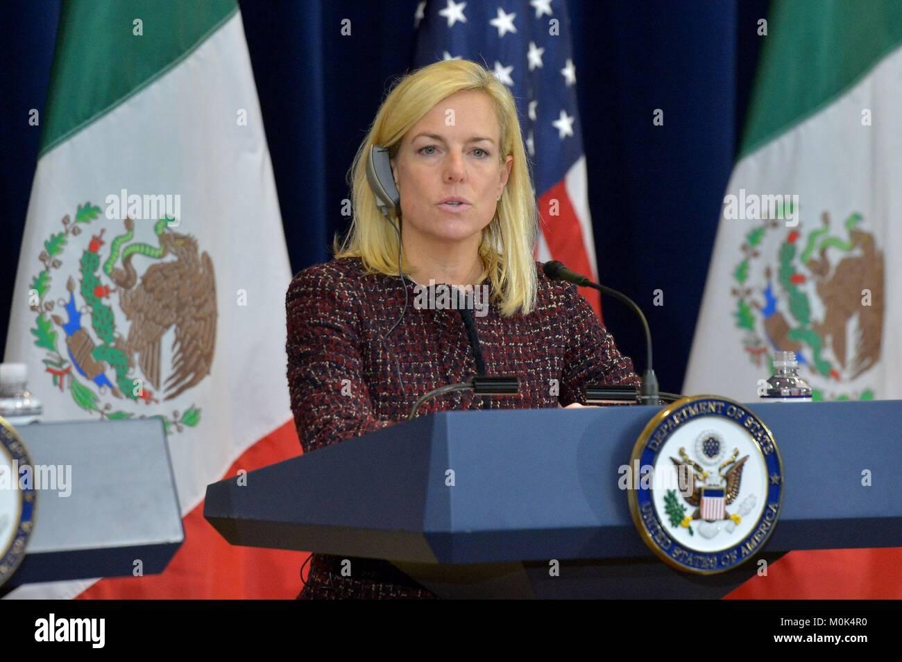 U.S. Homeland Security Secretary Kirstijen Nielsen speaks during the second U.S.-Mexico Strategic Dialogue on Disrupting - Stock Image