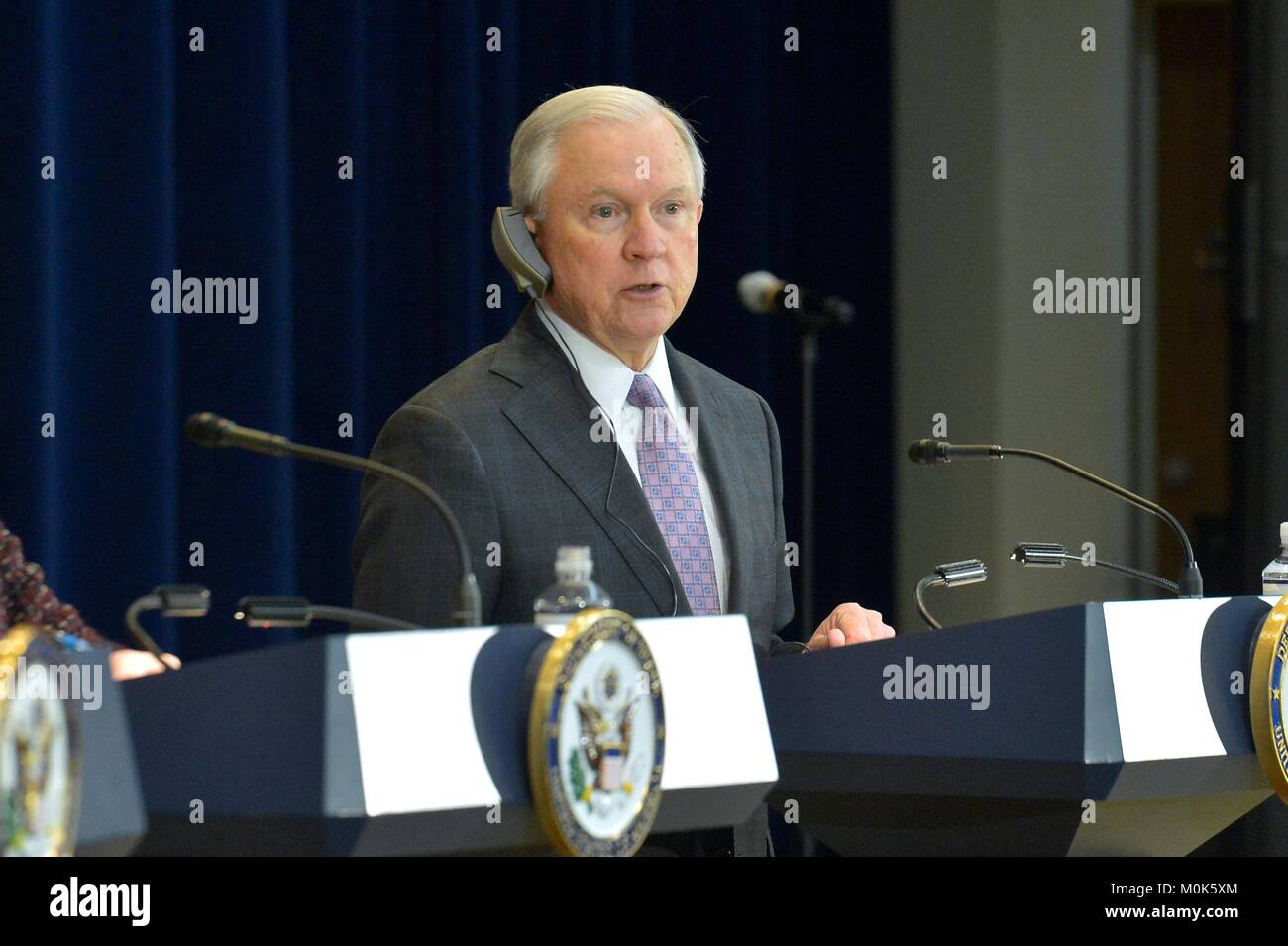 U.S. Attorney General Jeff Sessions speaks during the second U.S.-Mexico Strategic Dialogue on Disrupting Transnational - Stock Image