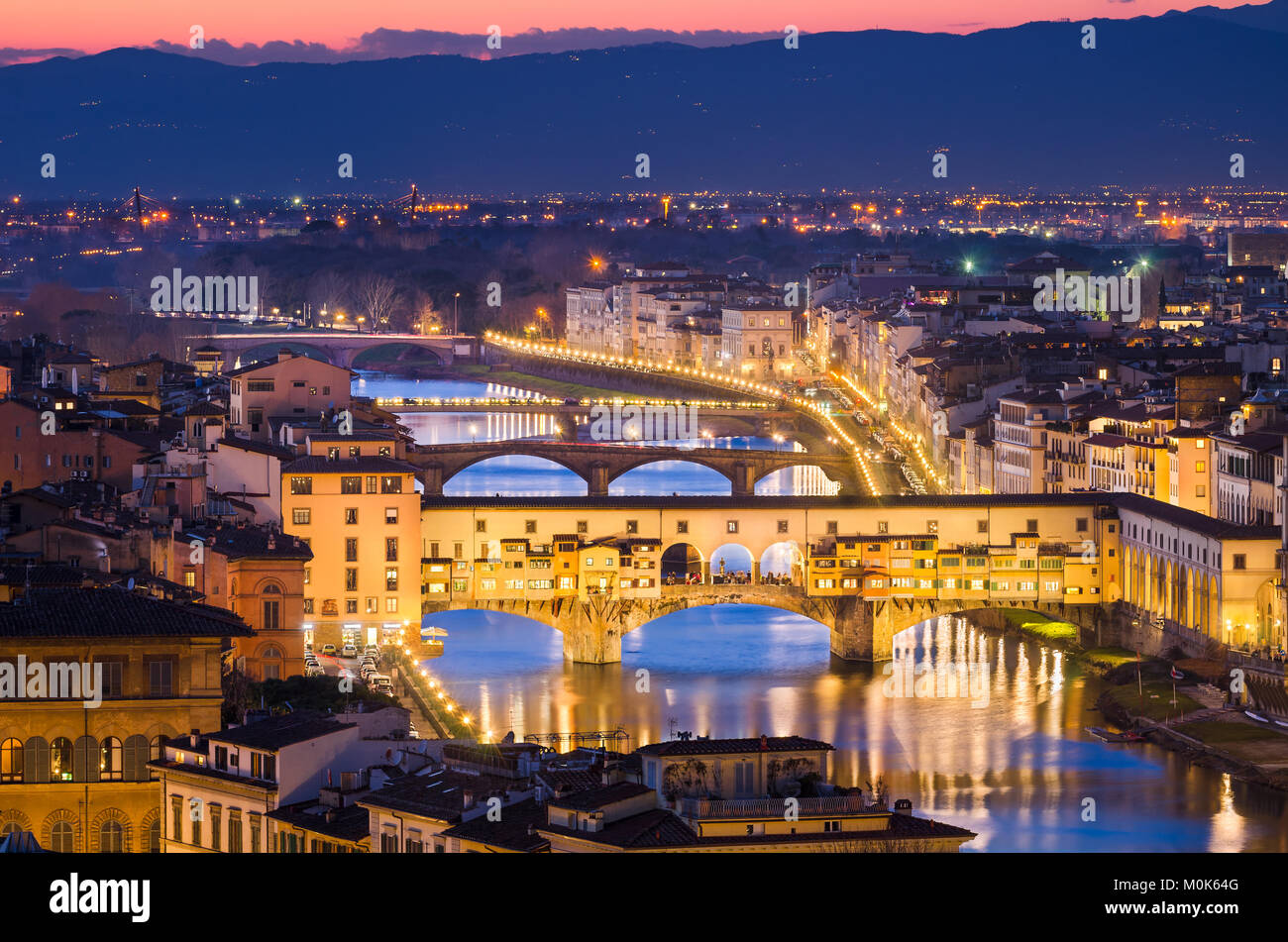 Night skyline of Florence, Italy with Ponte Vecchio - Stock Image