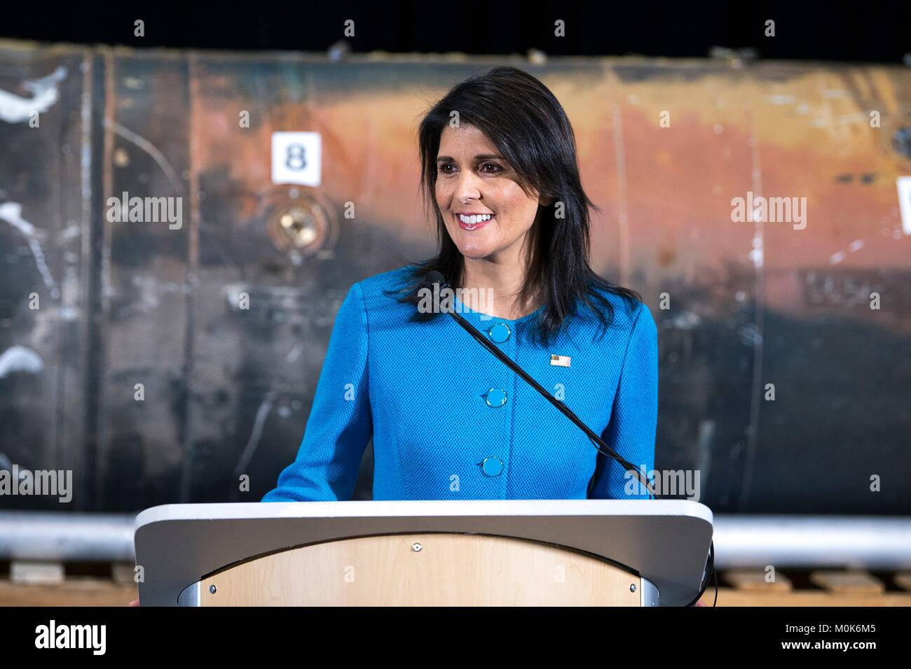 U.S. Ambassador to the United Nations Nikki Haley speaks about Iran during a press conference at the Joint Base - Stock Image