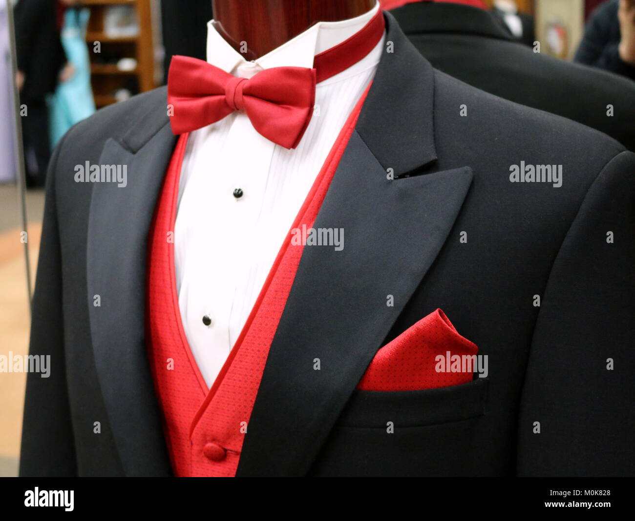 Black Tuxedo With Red Bow Tie - Stock Image