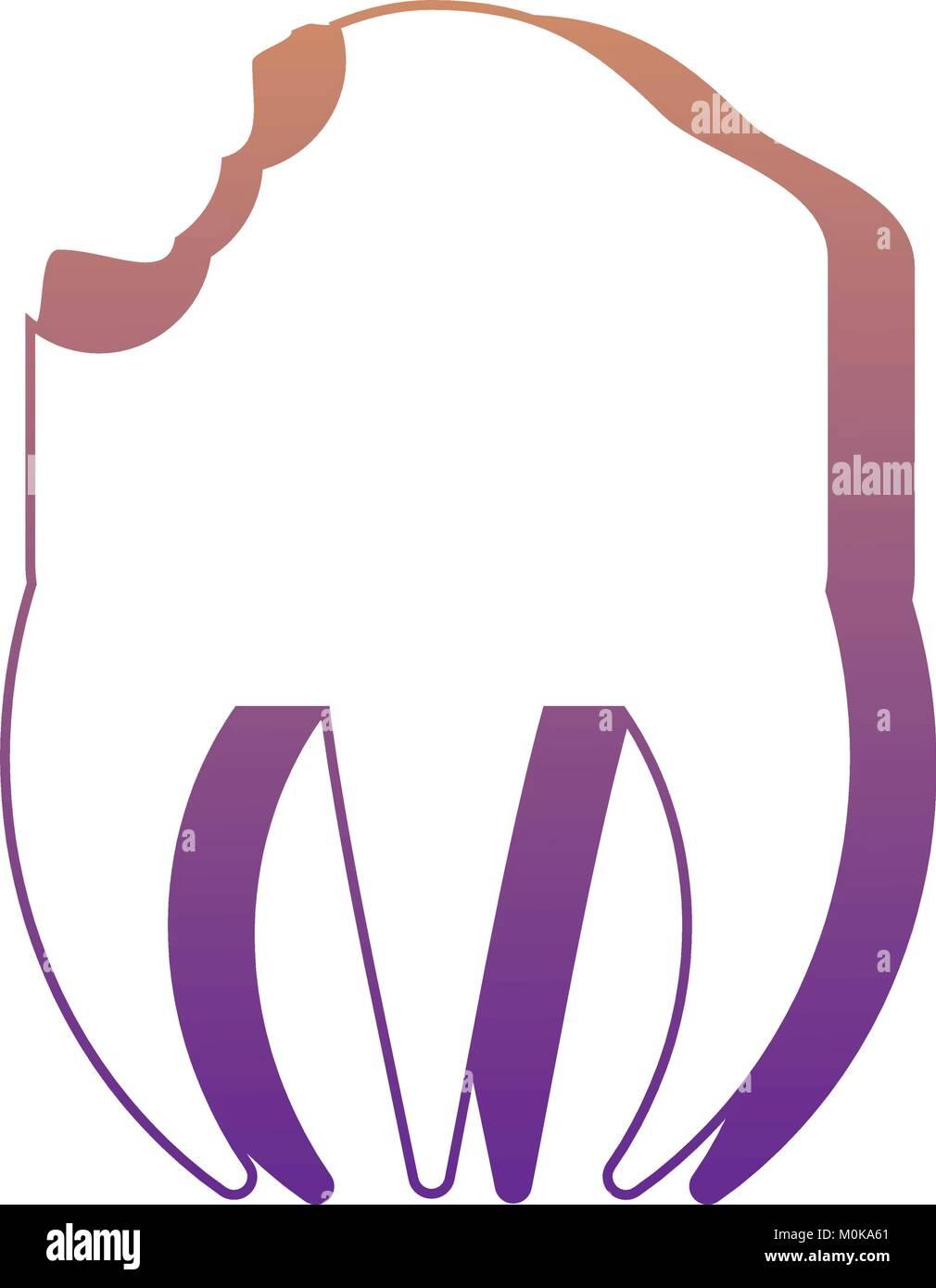 broken molar icon  - Stock Image