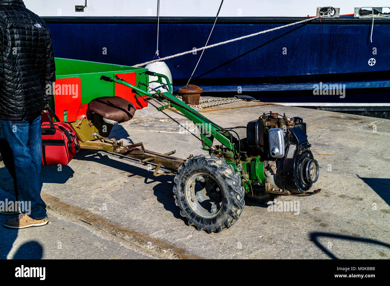 Mechanical trolley to unload goods from ferry and over rough ground on island of Susak, Croatia. May 2017. - Stock Image