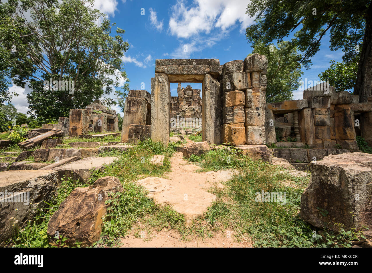 Ancient Angkorian temple at Wat Ek Phnom; Battambang, Cambodia - Stock Image