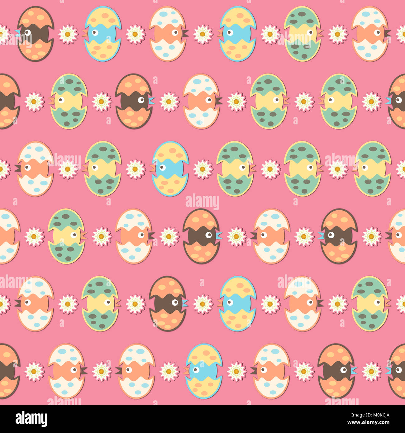 Cute hatched birds pattern on a pink background. Digital art for children. Stock Photo