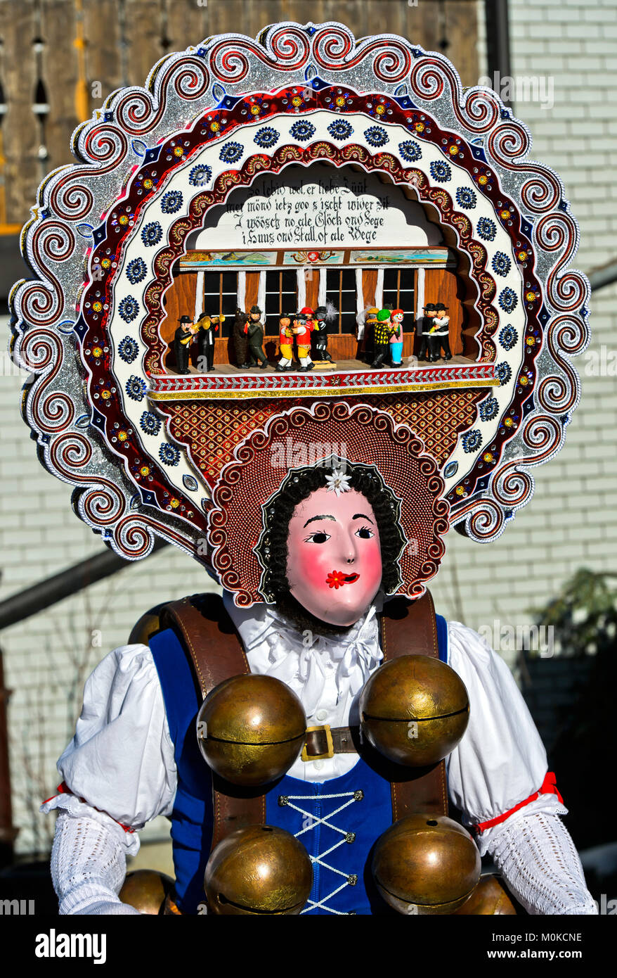 Beautiful Chlaus with fancy headgear, St Sylvester mummers, at Old Sylvester, Urnäsch, Canton Appenzell Ausserrhoden, - Stock Image