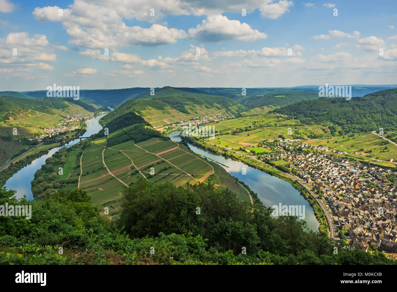 River Moselle loop at village Bremm - Stock Image