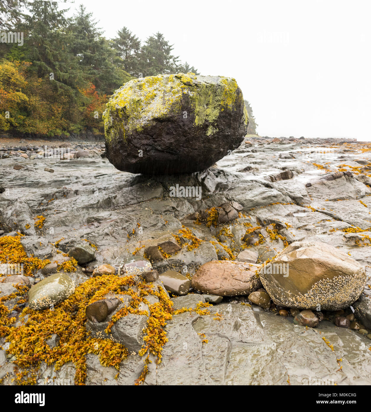 Balancing Rock Beach out of Skidigate; Haida Gwaii, British Columbia, Canada - Stock Image