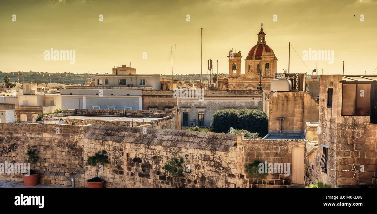 Victoria, Gozo island, Malta: aerial view from the Cittadella - Stock Image