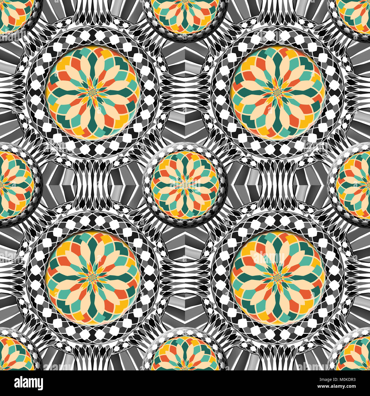 Beveled complex geometric pattern with colorful elements on a black and white background. Stock Photo