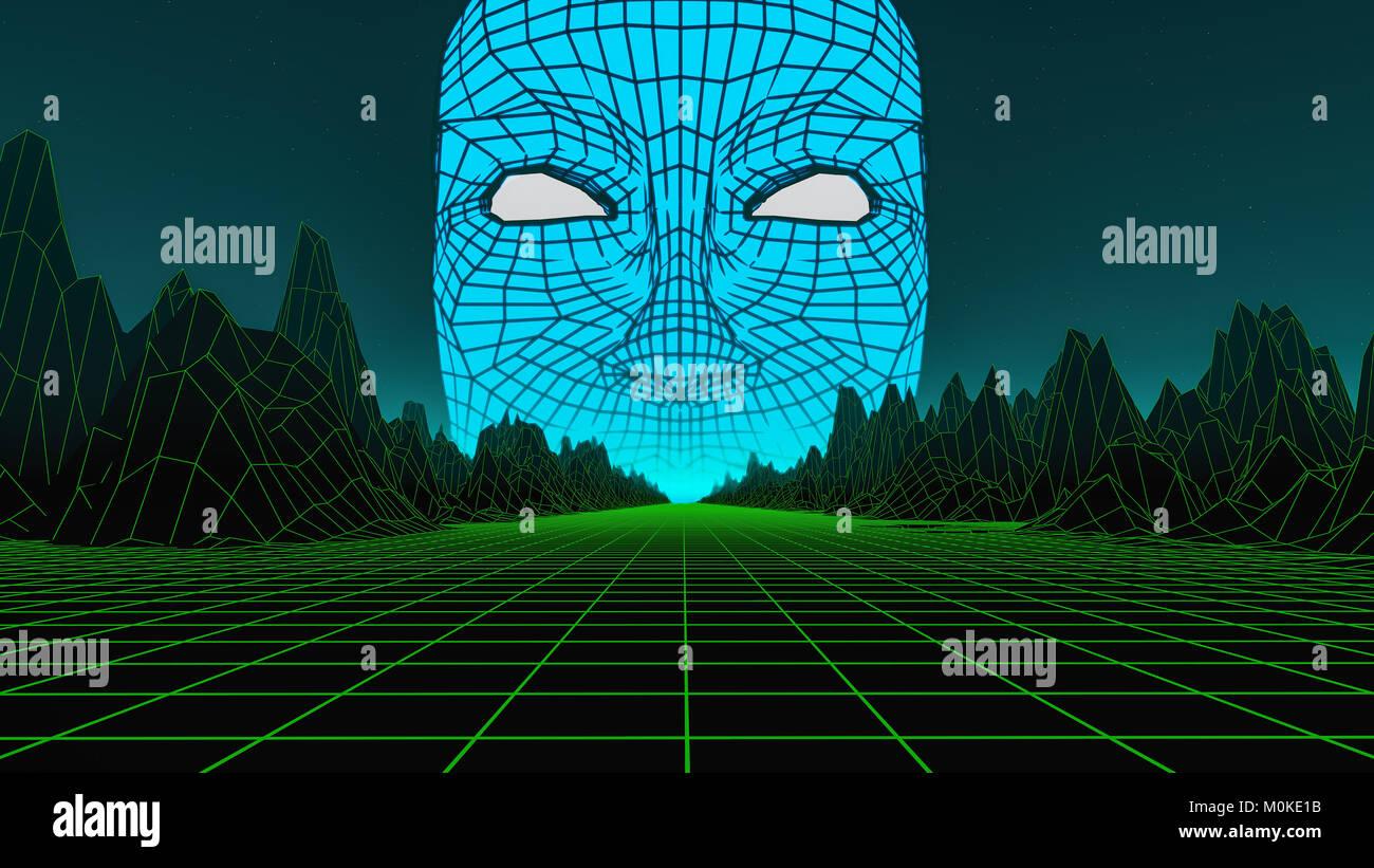 a huge head in a digital world (3d rendering) - Stock Image