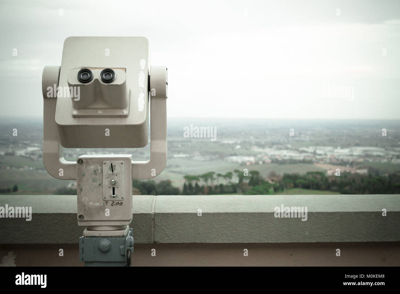 Coin Operated Binocular viewer spying the city from the high position - Stock Image