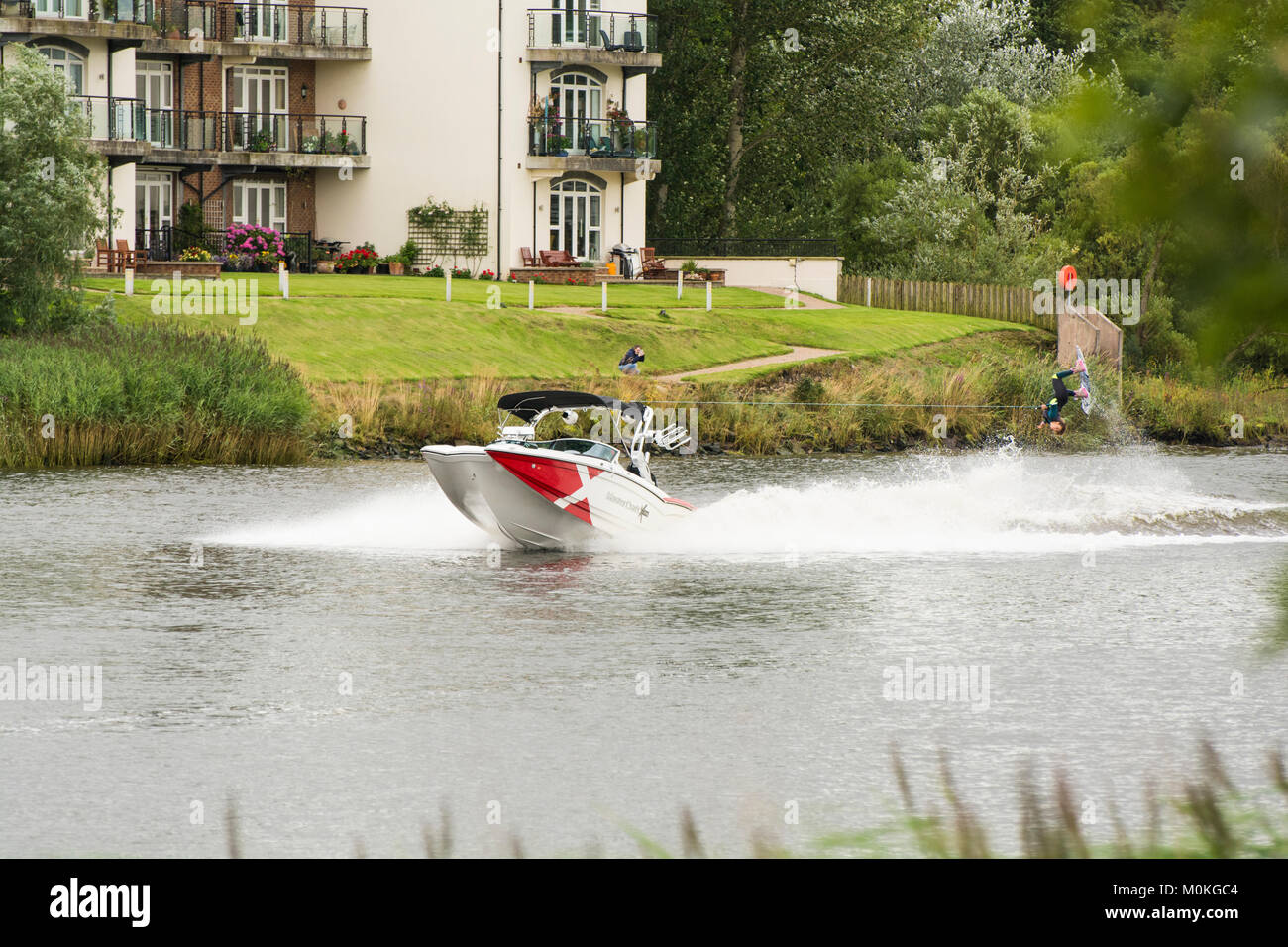 River Bann, Coleraine, Northern Ireland. - August 13th, 2016 :- A competitor in the European & African Wakeboard - Stock Image