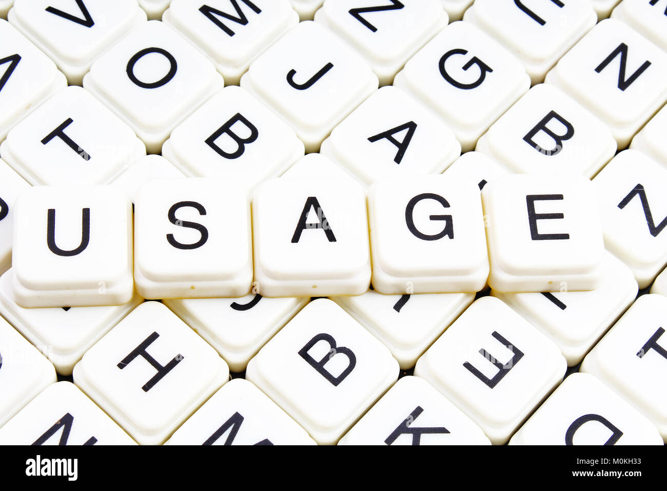 Usage text word crossword title caption label cover background. Alphabet letter toy blocks. White alphabetical letters. - Stock Image