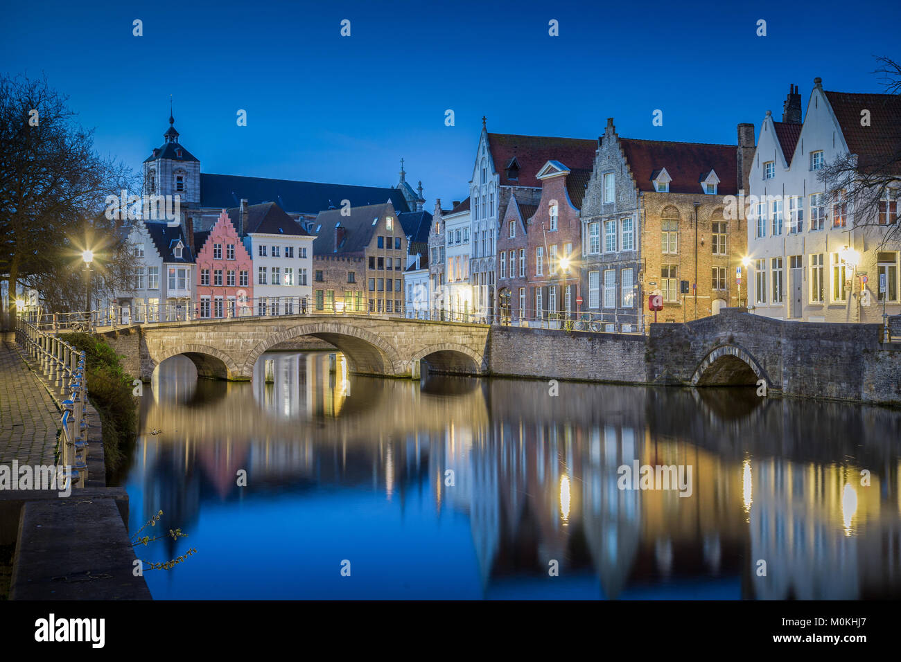 Classic postcard view of the historic city center of Brugge, often referred to as The Venice of the North, with - Stock Image