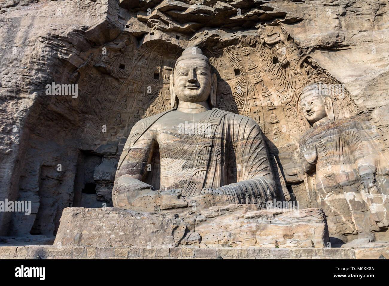 Buddha statue at Yungang grottoes in datong, Shanxi province, China - Stock Image