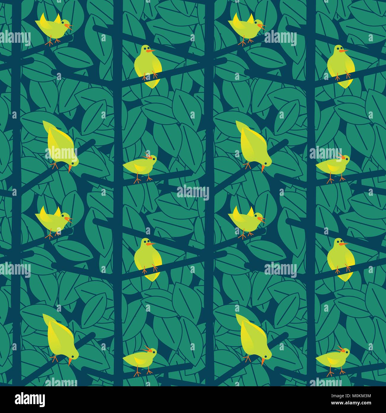 A , seamless, repeat pattern of birds in a bush, in the Scandinavian style. Stock Vector