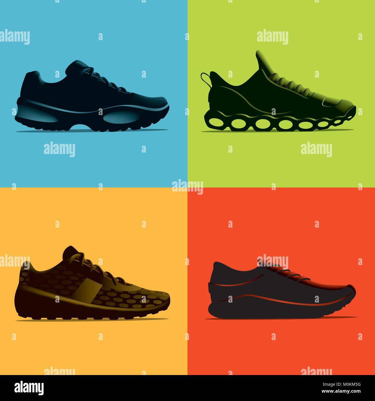 A set of 4 athletic shoes rendered in near silhouette against coloured backgrounds. This is a scalable and editable - Stock Vector