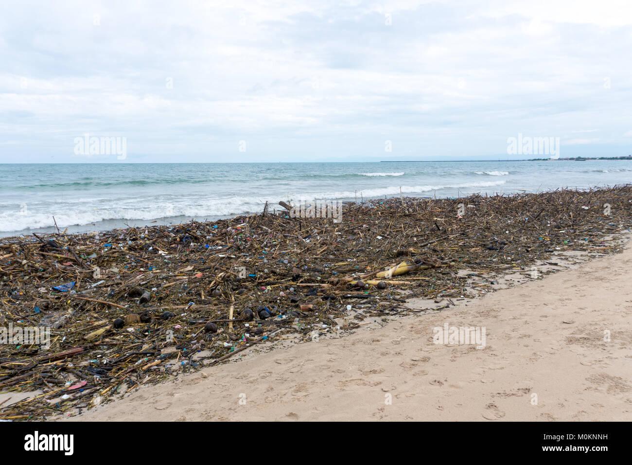 Littered shore - Stock Image
