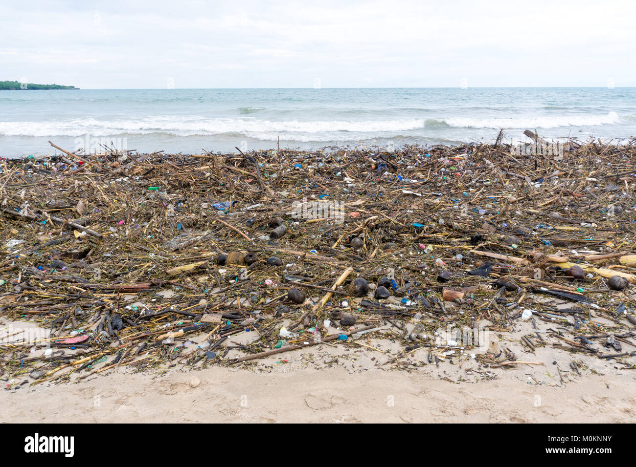 Water pollution, empty plastic bottles on ocean beach Stock Photo
