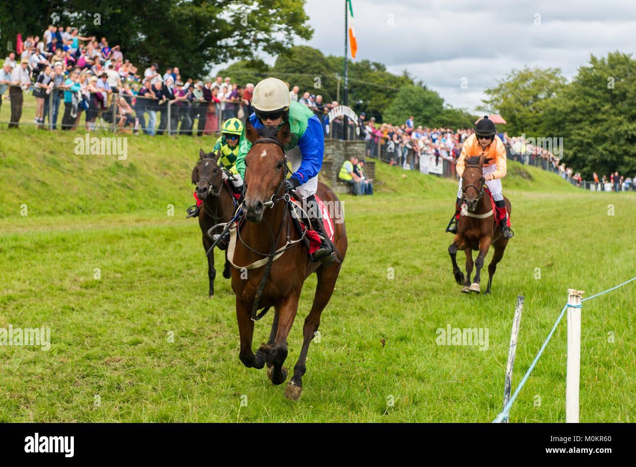 A juvenile horse race as part of Ballabuidhe Races, Dunmanway, County Cork, Ireland. - Stock Image
