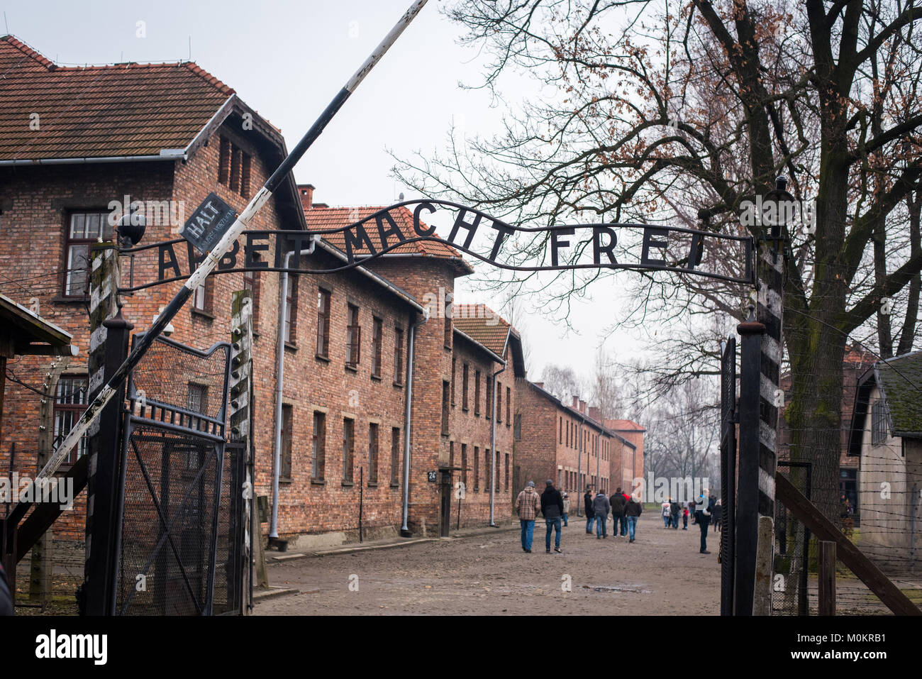 Arbeit Macht Frei sign at entrance to Auschwitz Concentration Camp, near Krakow, Poland - Stock Image