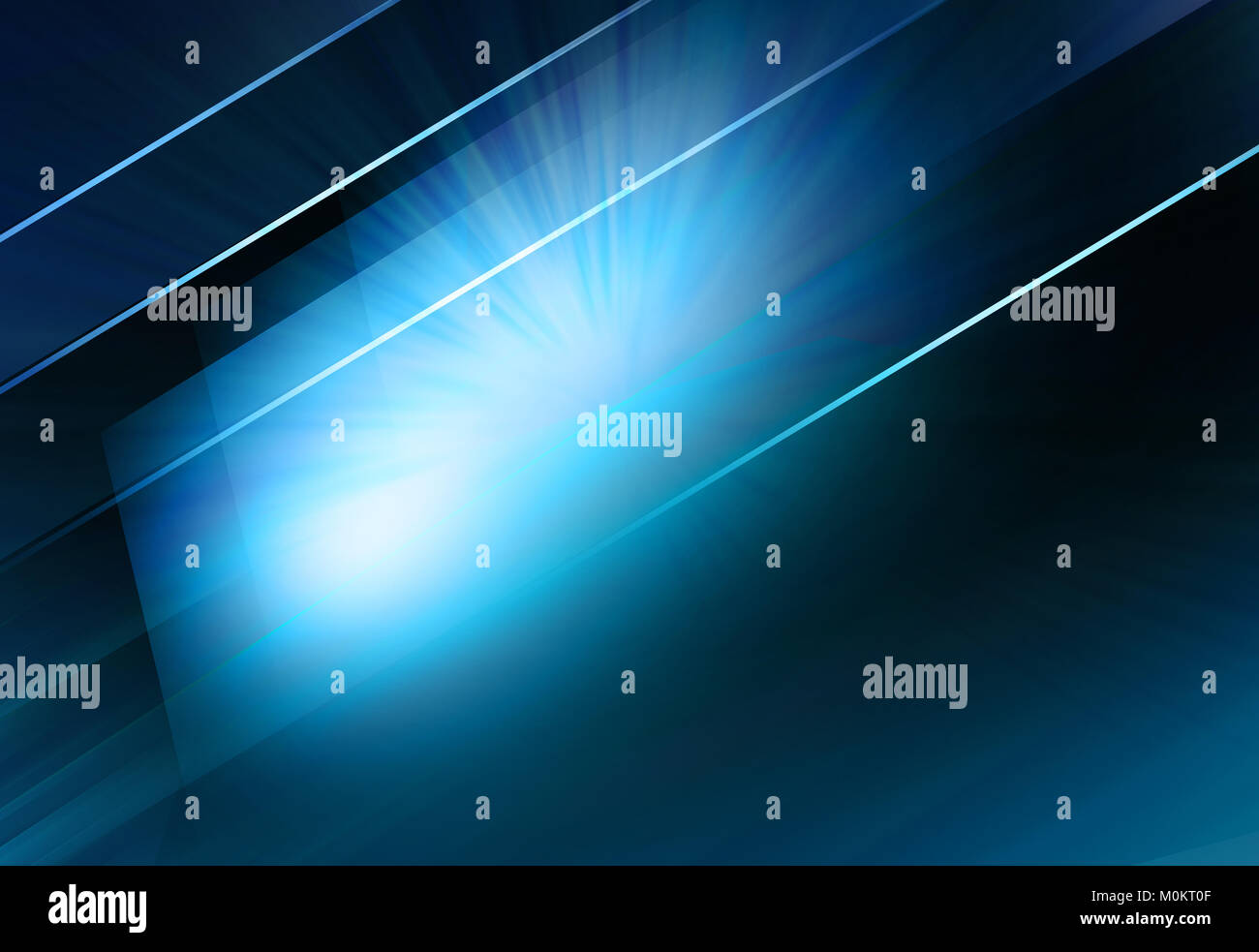 Graphical abstract blue screen with lines and light rays background. - Stock Image