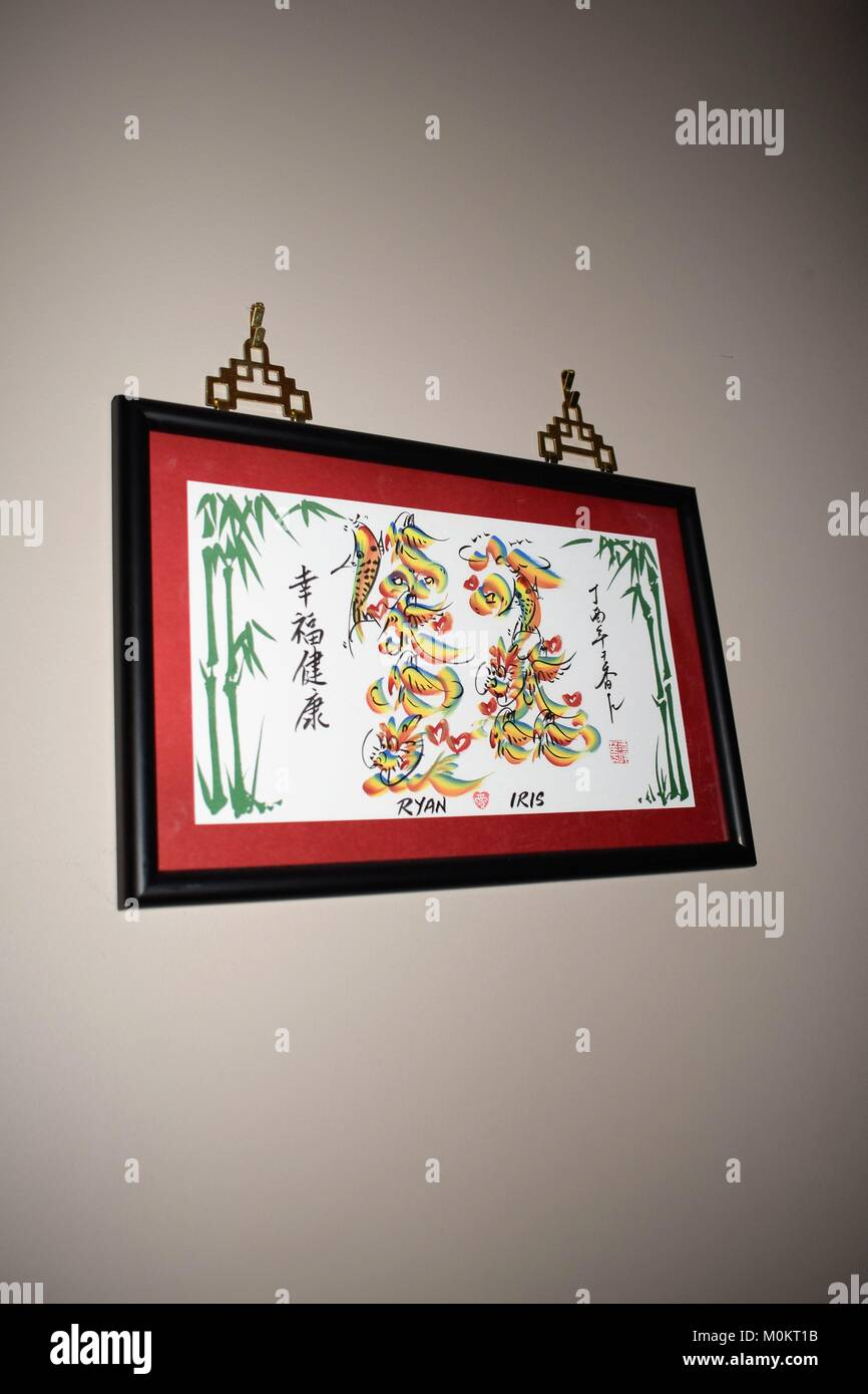 Chinese drawing names - Stock Image