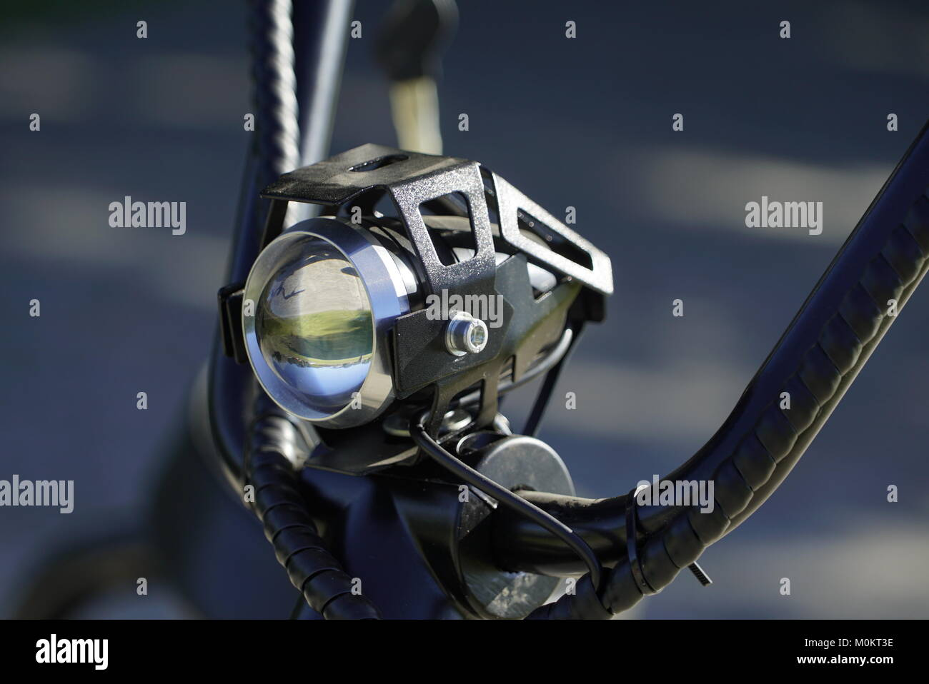 Closeup of Motorcycle handles with low depth of field - Stock Image