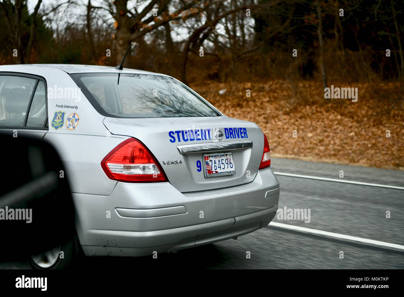 Student driver car on the highway stock image