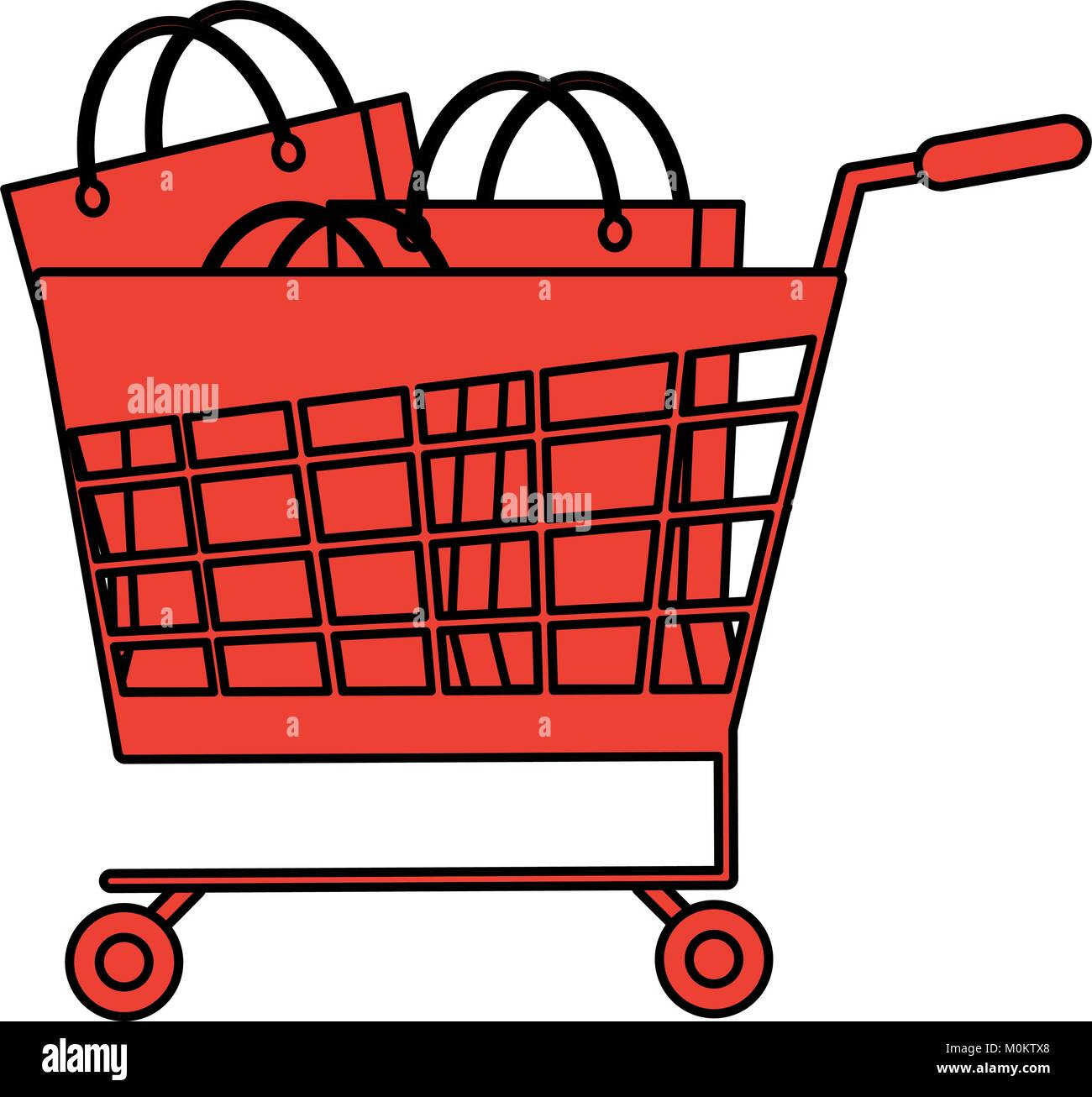 Shopping cart with bags - Stock Vector