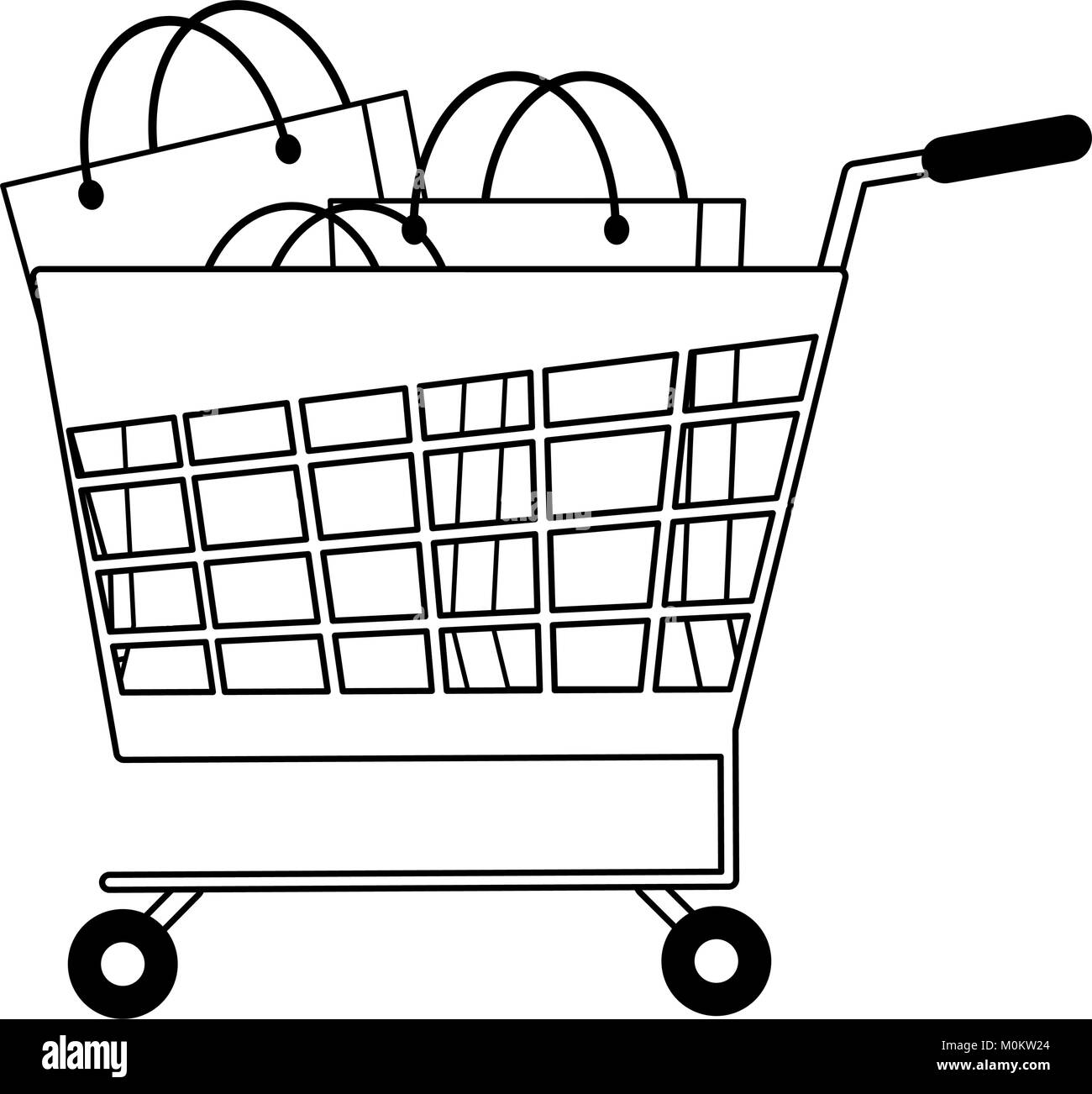 Shopping cart with bags - Stock Image