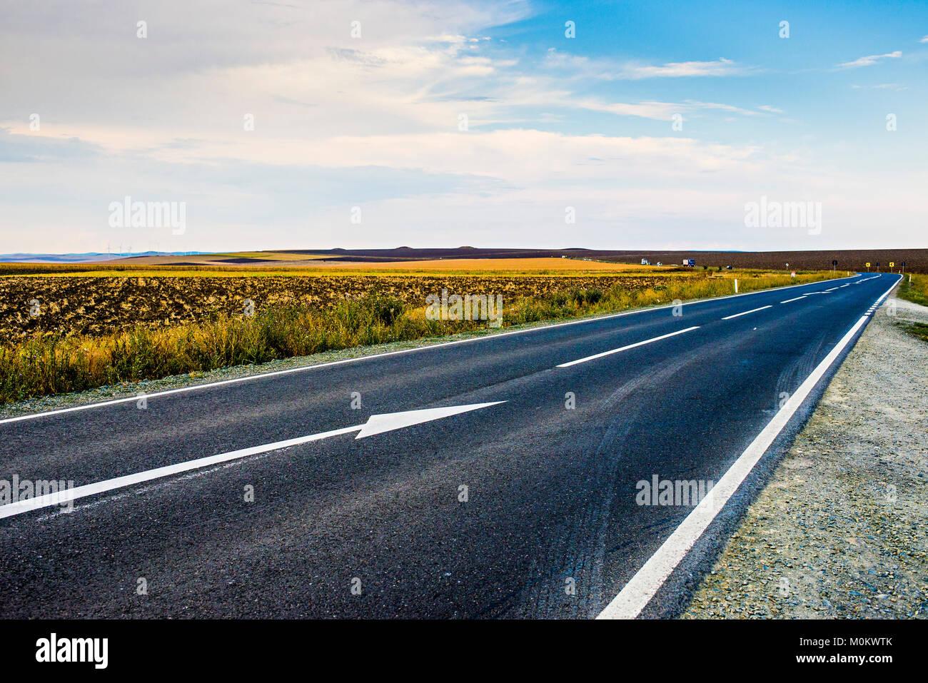 Asphalt road going through Romania country - Stock Image