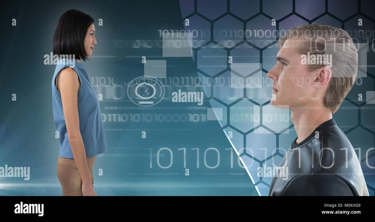 Man and woman looking forward in digital world - Stock Image