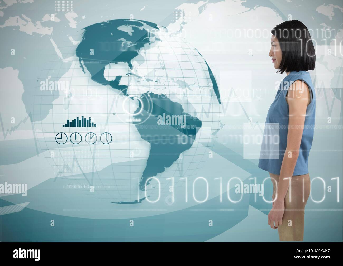 Woman looking at globe with digits surrounding her - Stock Image