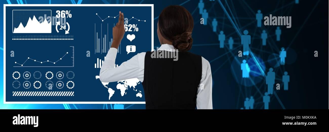 Woman touching interface in digital world - Stock Image