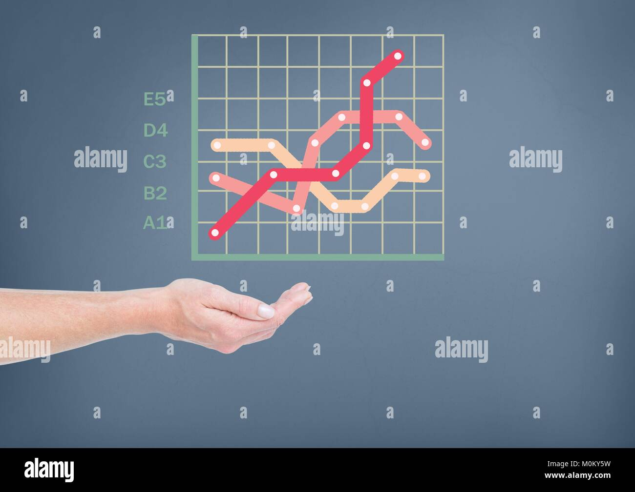 Hand cupped with colorful chart statistics grid - Stock Image