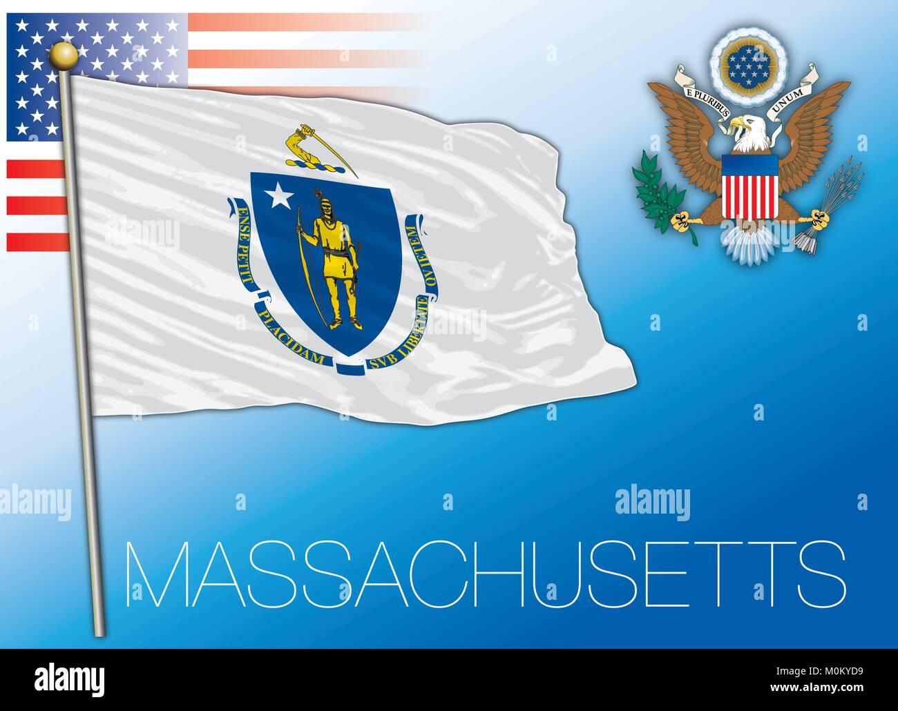 Massachusetts federal state flag, United States - Stock Vector