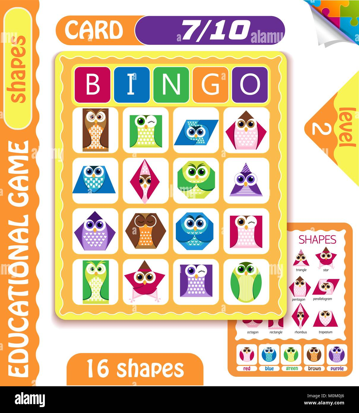 educational bingo game for preschool kids with shapes in the form of