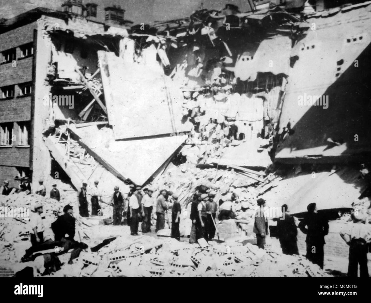 Air raid damage in Poland, WW2 - Stock Image