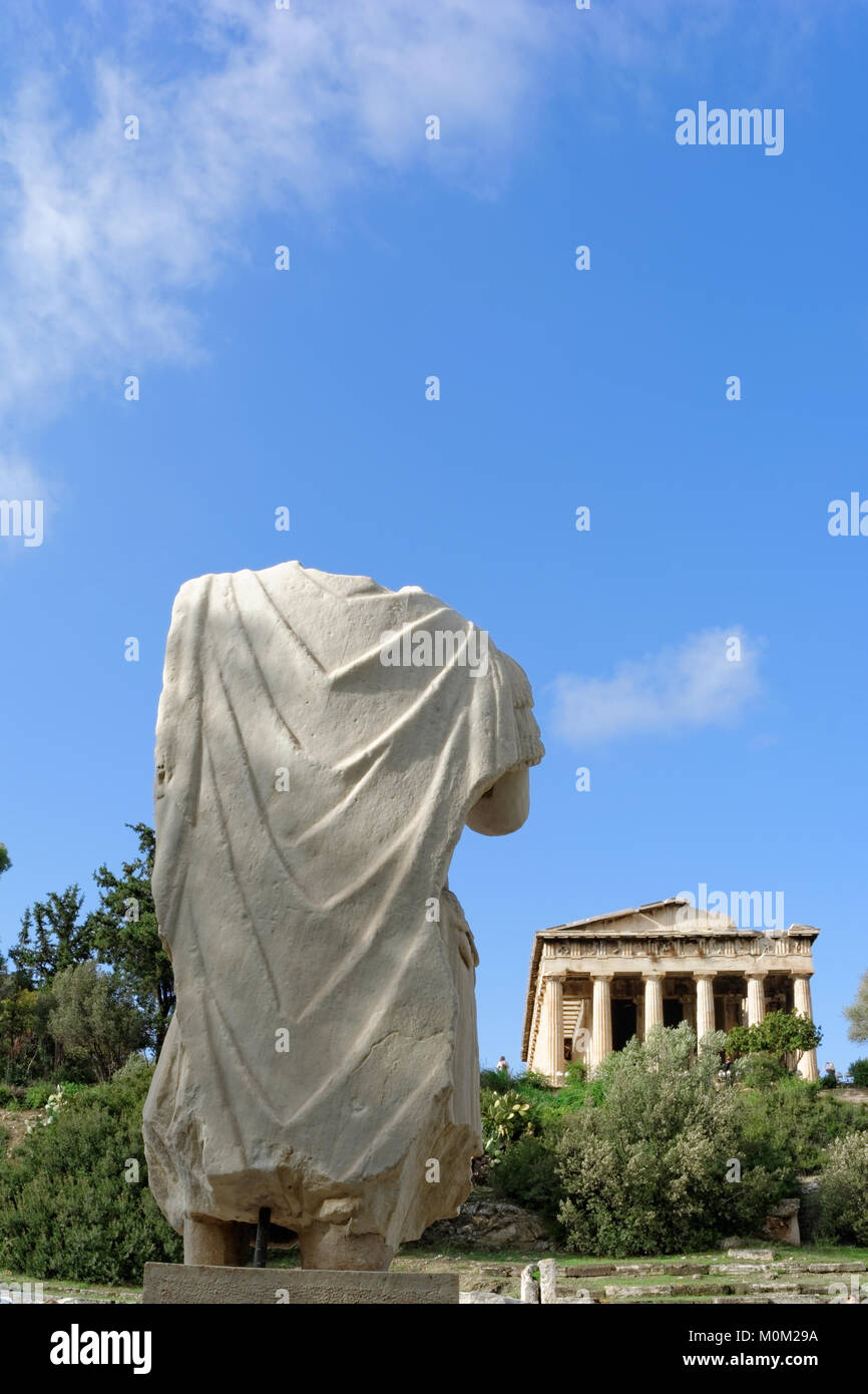 The statue in front of the Temple of Hephaestus or Hephaisteion - Stock Image