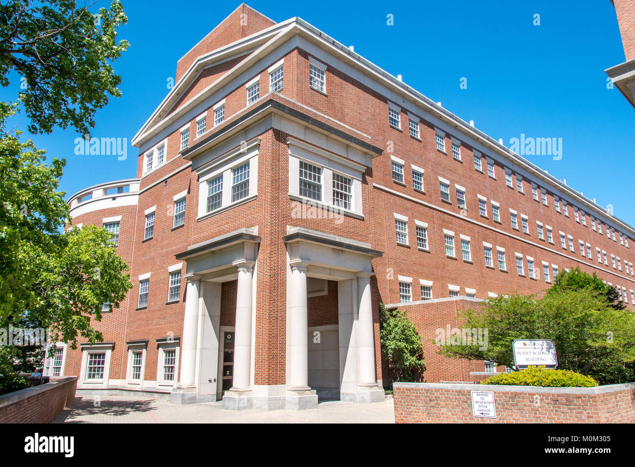 Exterior of brick building with copious windows stands out against clear blue skies on university campus, College Stock Photo