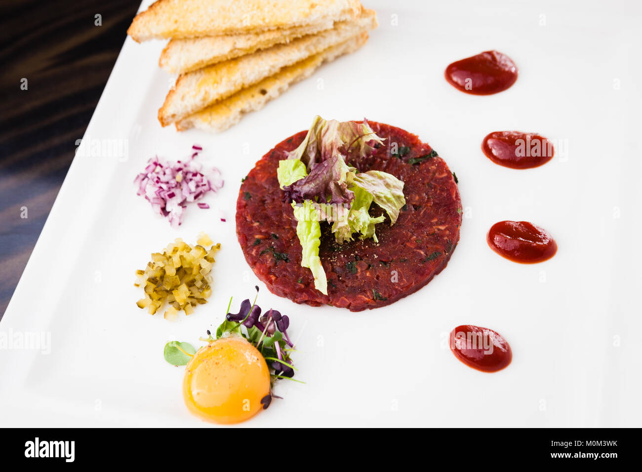 Classic steak tartare - Stock Image