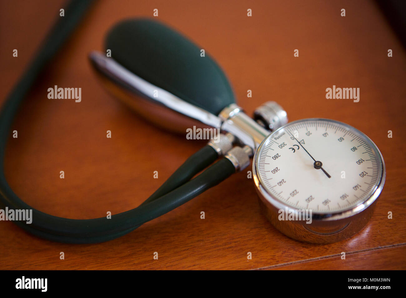 Sphygmomanometer of a blood pressure measuring device used in a healthcare setting - Stock Image