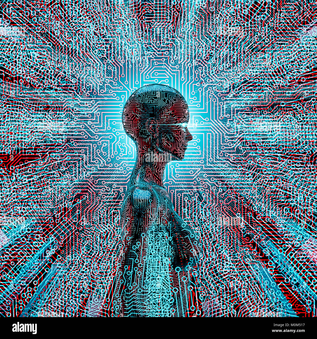 Artificial Intelligence Profile 3d Illustration Of Female Ai At Or Photo Circuit Board Skinned Human Close Up And Binary Code The Centre Lines