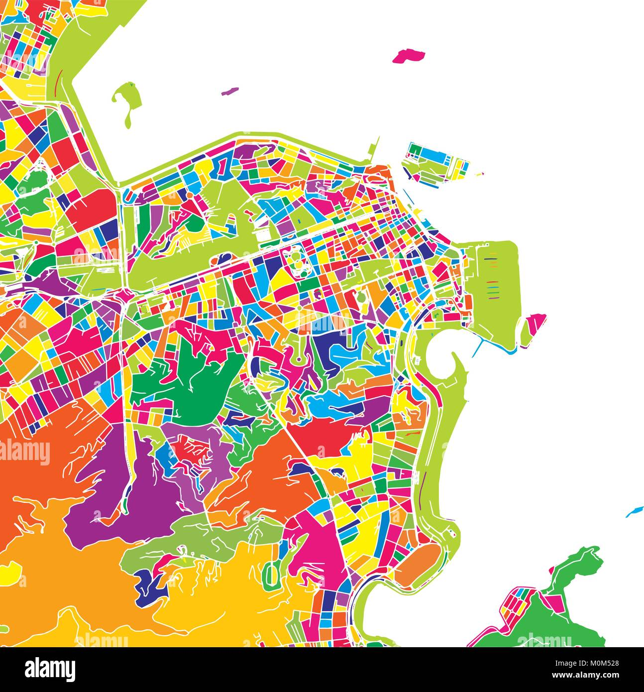 Rio De Janeiro Brazil Colorful Vector Map White Streets Railways And Water Bright Colored Landmark Shapes Art Print Pattern
